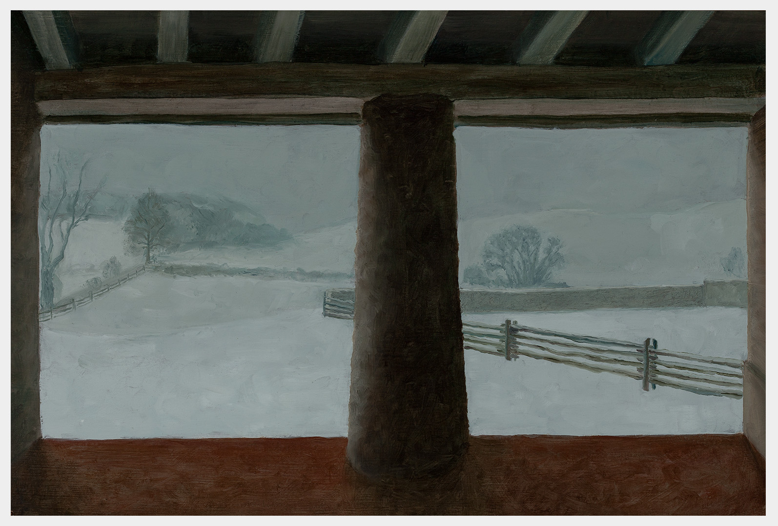 Realistic landscape oil painting from a barn looking out onto a courtyard and fields and trees beyond during a snowstorm