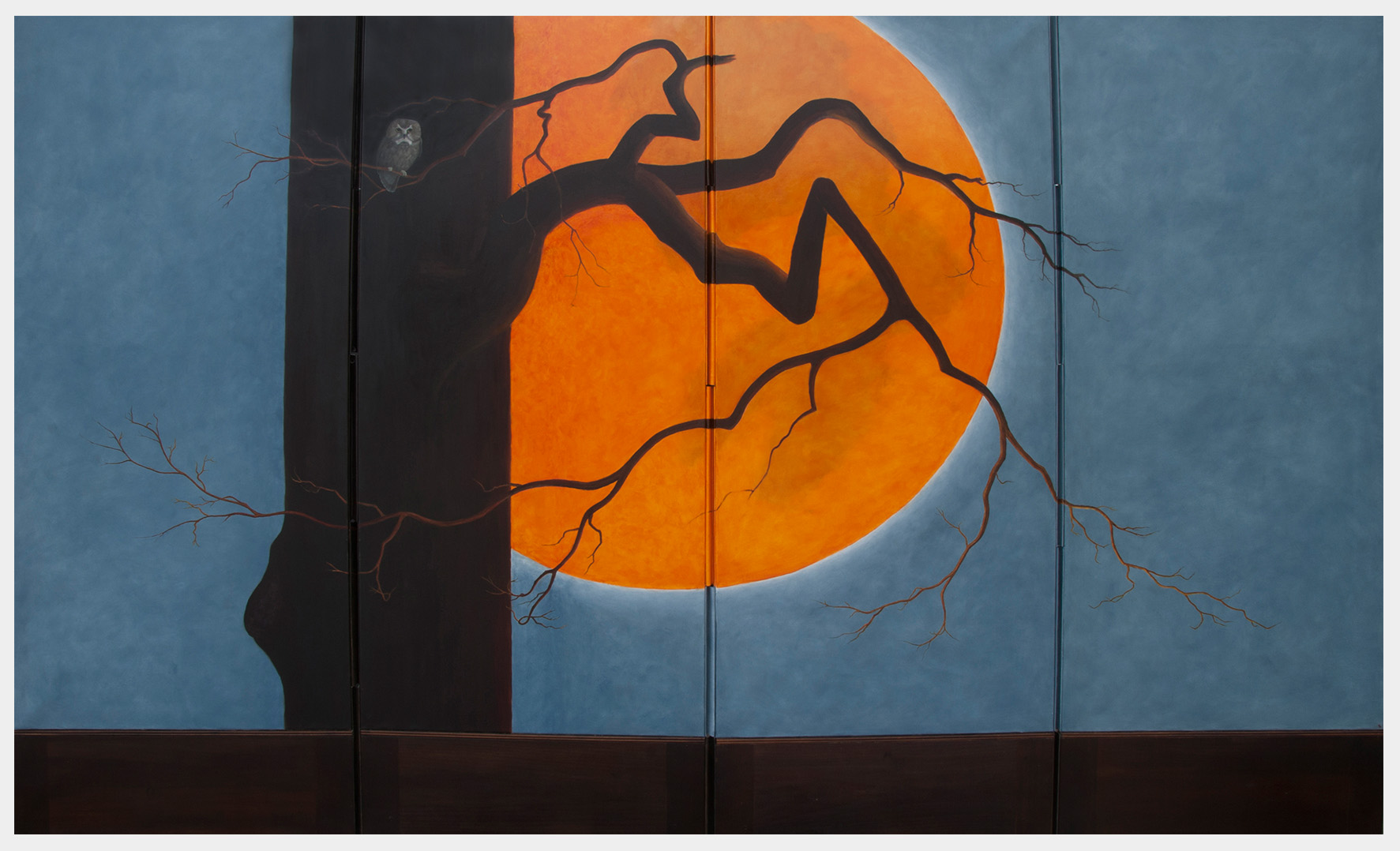 Realistic oil painting as a four-fold screen of an orange full moon rising behind a leafless tree with a small owl perched on a branch