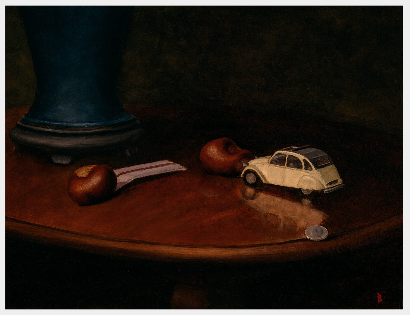 Realistic oil painting of the contents of a boy's pocket including a bus ticket two chestnuts and a white toy car and a coin on a gleaming wooden table top with the base of a blue lamp just visible in the background