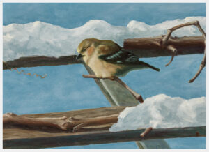 Realistic oil painting of a goldfinch in winter plumage perched on a grapevine amid snow on a pergola
