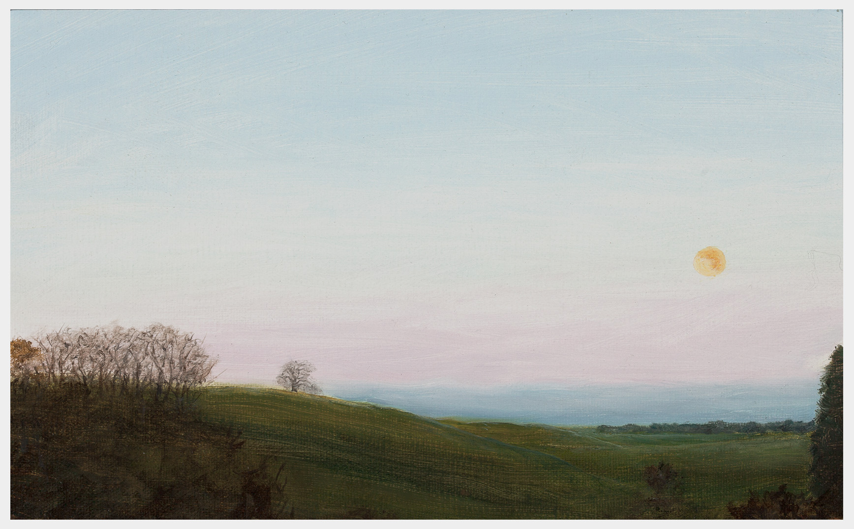 Realistic oil painting of a full moon setting over a landscape of fields and trees and distant hills