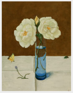 Realistic oil painting of a translucent blue vase with yellow roses on a white tablecloth with a sprig of lavender and a butterfly and a beetle