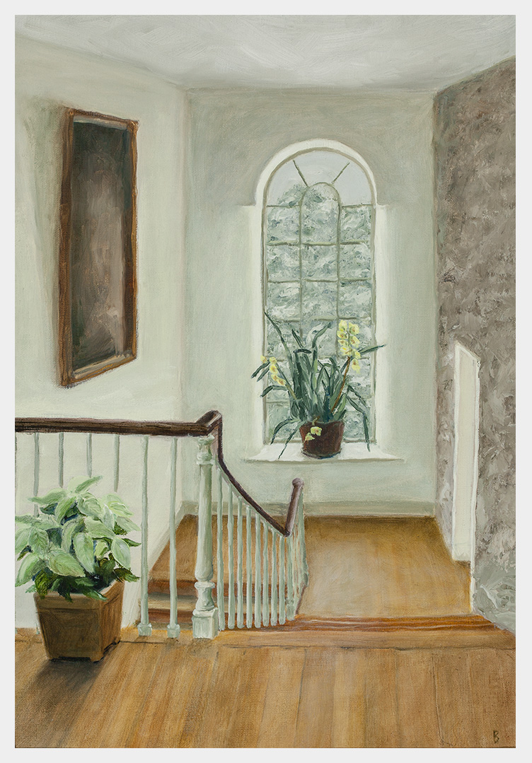 Realistic oil painting of a cymbidium orchid on the windowsill of a stair landing with snowy trees outside and an indistinct painting and a white poinsettia on the left side and a doorjamb on the right set into a stone wall