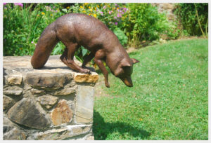 Realistic bronze sculpture life-size of a fox jumping off a wall leading with his front right foot in mid-air.