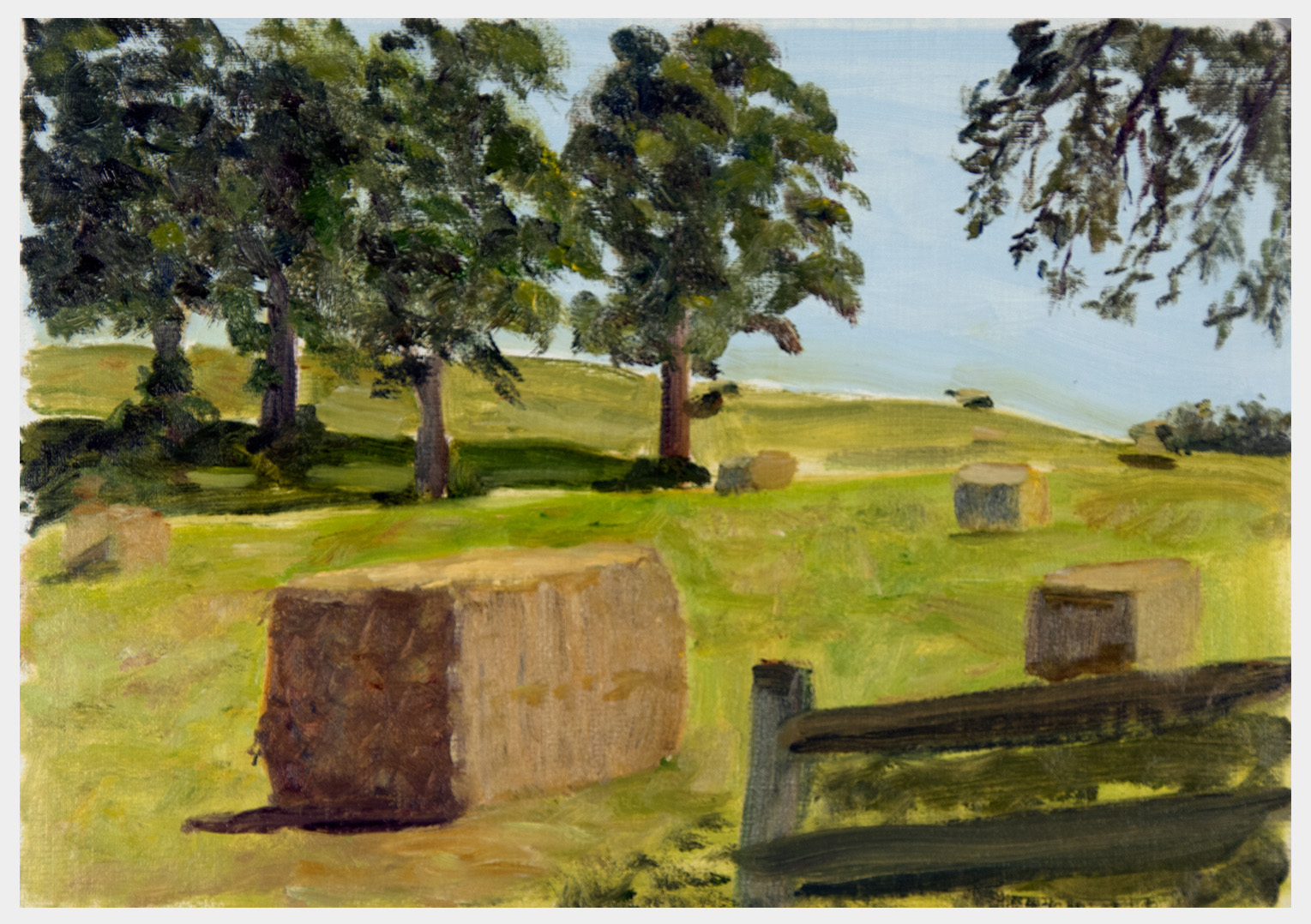 Realistically painted large hay bales in a fenced field with few trees providing shade in the noon-day sun