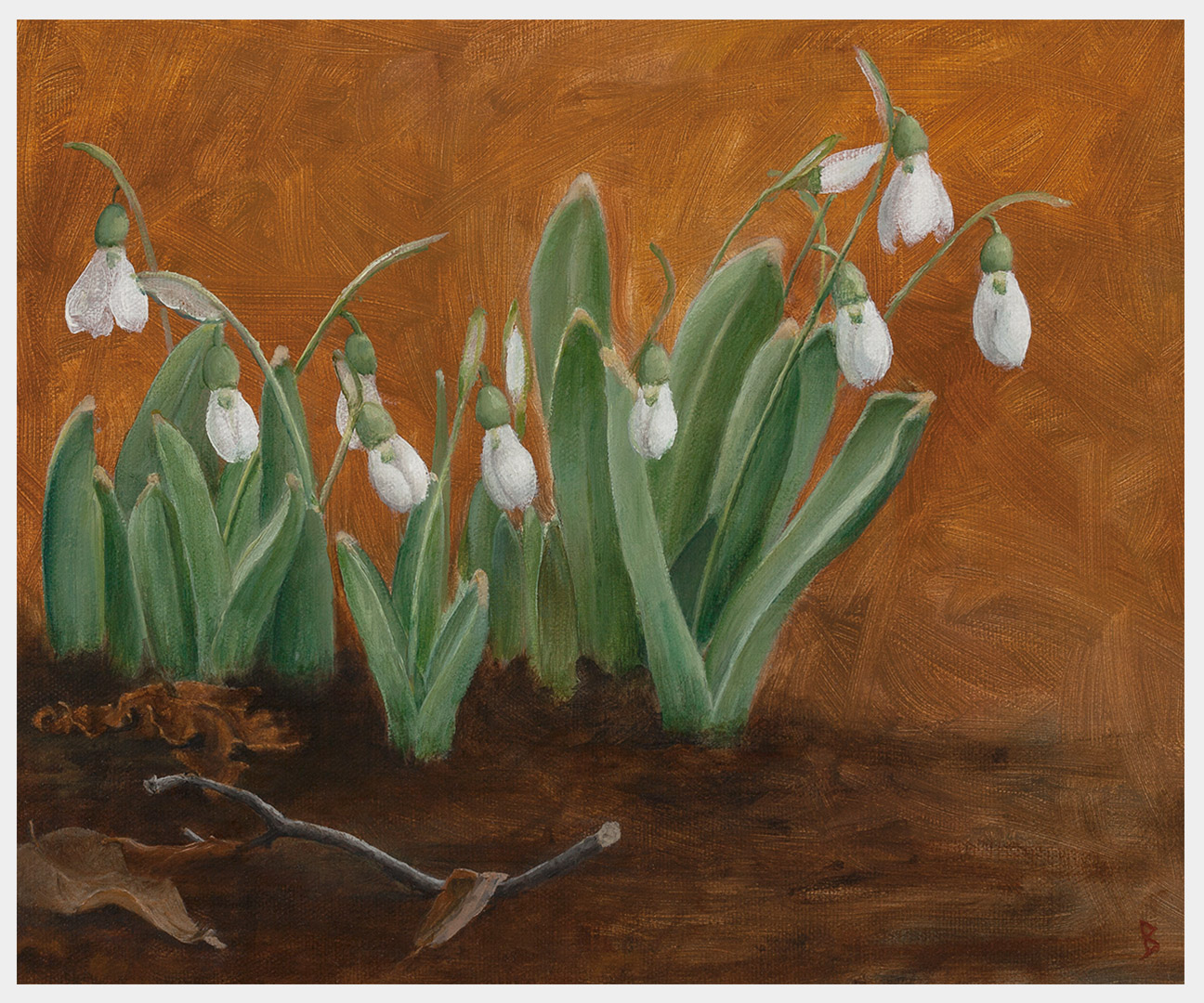 A realistic close-up landscape oil painting of snowdrops