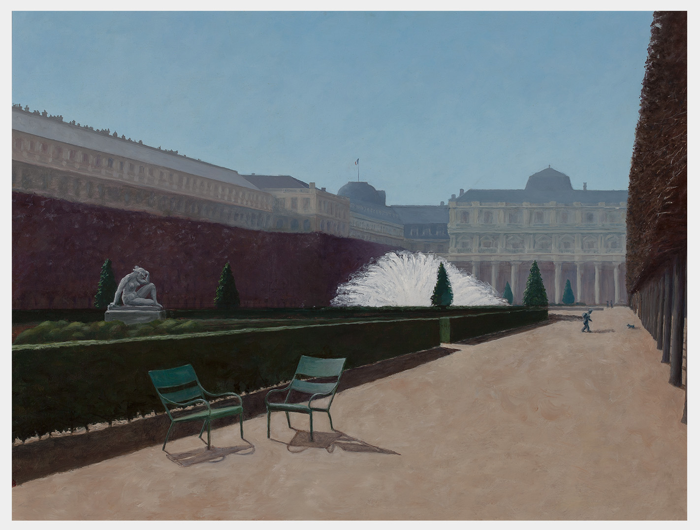 Realistic oil painting of the royal palace gardens in Paris, a series of severely trimmed trees on the right and left, box hedges surrounding formal gardens with sculpture and a brilliant fountain, and on the sandy path a couple of chairs in the foreground and a small boy with a dog far down the allée.