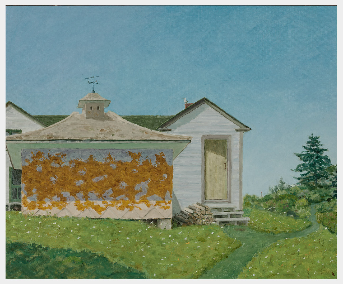 Realistic oil painting of a sunlit pumphouse with lichen on its walls, next to a tool shed with stacked wood, set in a Maine landscape