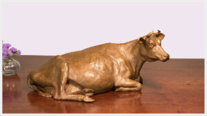 Realistic bronze sculpture of a pregnant cow reclining on her left side, her head turned to the right