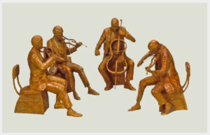Realistic bronze sculpture of two violinists violist and cellist all sitting on chairs playing outlined instruments
