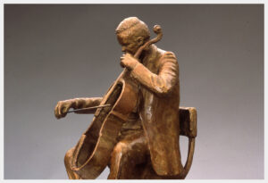 Realistic bronze sculpture life-size of a cellist sitting on a chair playing the outline of a cello with a bow
