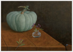 Realistic painting of a Jarrahdale squash with a small glass vase of purple flowers on a large board table and a dog's nose at the right corner with an inchworm almost touching it.