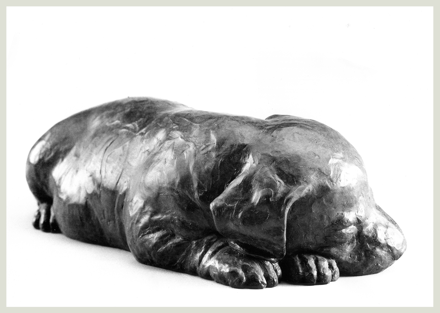 Realistic bronze sculpture of a sleeping puppy head resting on front paws slightly turned left