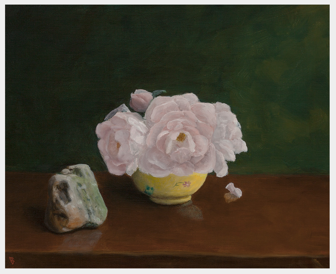Realistic still life oil painting of pink roses in a yellow bowl next to a small multicolored rock, all on a table.