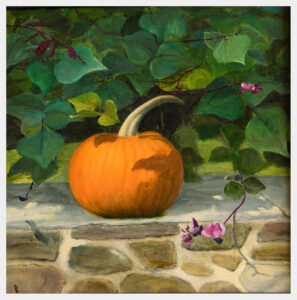 A realistic painting of a pumpkin on a stone wall with grape Hyacinth's purple flowers and beans surrounding.