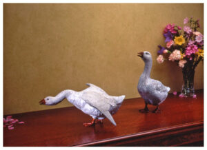Realistic bronze sculpture of two table size geese, both honking one alert with its head up and wings folded the other aggressive with wings spread and neck extended