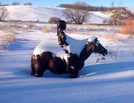Equestrienne in snow